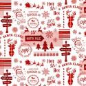 tissu patchwork de Noël, rouge avec des dessins de noël
