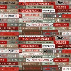 tissu patchwork imprimé d'étiquettes avec des messages