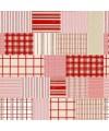 tissu patchwork de Noël, à carreaux, rouge et beige