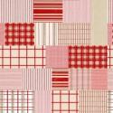 tissu patchwork de Noël, à carreaux rouge, beige et blanc