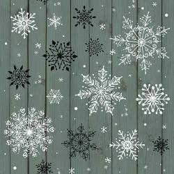tissu patchwork de Noël, cristaux de neige gris vert