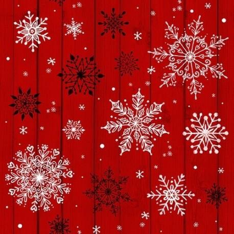 tissu patchwork de Noël, cristaux de neige sur fond rouge