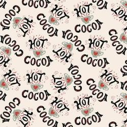 tissu patchwork de Noël, sur fond beige avec des tasses de chocolat chaud