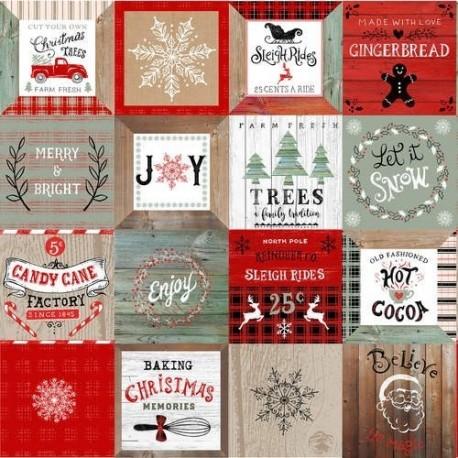 tissu patchwork de Noël, en panneau d'étiquettes