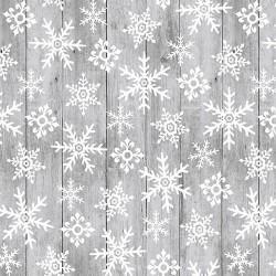 tissu patchwork de Noël, gris avec des cristaux de neige