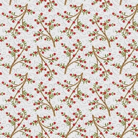 tissu patchwork de Noël, gris avec des branches d'if