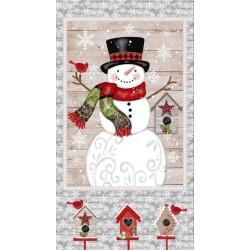 tissu patchwork de Noël, grand panneau bonhomme de neige et nichoirs