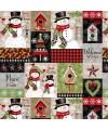 tissu patchwork de Noël, panneau d'étiquettes sur l'hiver