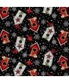 tissu patchwork de Noël, nichoirs et oiseaux sur fond noir