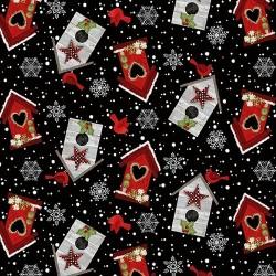 tissu patchwork de Noël, nichoirs sur fond noir