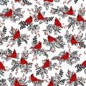 tissu patchwork d'hiver, oiseaux cardinal sur fond blanc