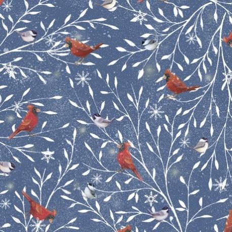 tissu patchwork d'hiver, cardinal oiseaux sur fond bleu