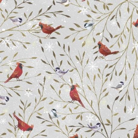 tissu patchwork d'hiver, cardinal oiseaux sur fond gris
