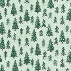 tissu patchwork d'hiver, sapins sur fond vert clair à pois