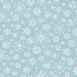 tissu patchwork d'hiver, flocons de neige sur fond bleu gris