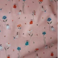 tissu jersey impression de lapins, souris et chats sur fond rose
