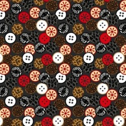 Tissu patchwork imprimé boutons couture collection sewing mends the soul 9237-90