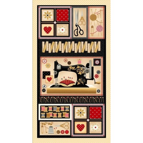 Tissu patchwork collection sewing mends the soul 9239-44 en panneau