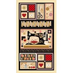 Tissu patchwork panneau d'étiquettes sur le thème de la couture, collection sewing mends the soul 9239-44