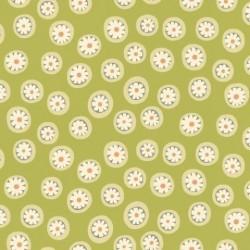tissu patchwork vert à petits motifs ronds