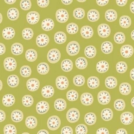 tissu patchwork vert anis à petits motifs ronds anni downs
