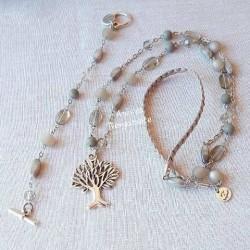 ensemble collier et bracelet gris anis et bergamote
