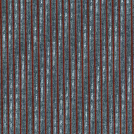 tissu patchwork Lynette Anderson rayé rouge sur fond bleu High Meadow Farm