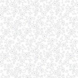 tissu patchwork blanc avec fleurs et arabesques