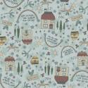 tissu patchwork collection Sunshine after the rain de Lynette Anderson avec des maisons