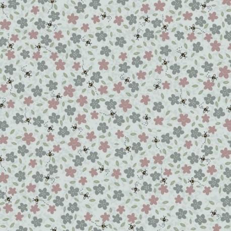 tissu patchwork collection Sunshine after the rain de Lynette Anderson, fleurs et abeilles