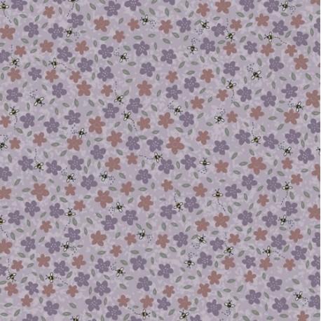 tissu patchwork collection Sunshine after the rain de Lynette Anderson, fleurs et abeilles fond rosé
