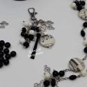 Porte Clef bijoux de sac noir et blanc