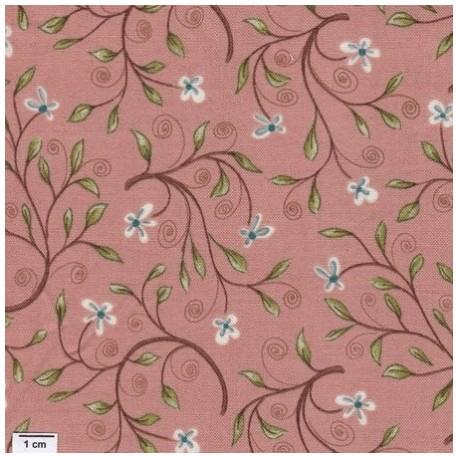 tissu patchwork saumon fleuri