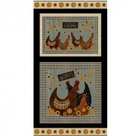 tissu patchwork-collection quilter barn 3048-99 tissu poules