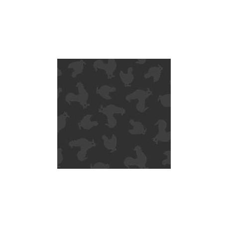 tissu patchwork noir avec des poules