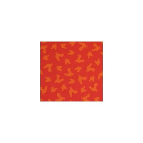 tissu patchwork rouge imprimé poules
