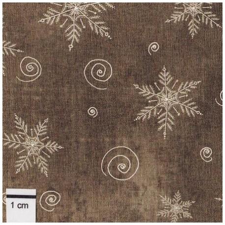 tissu patchwork de noël marron étoiles
