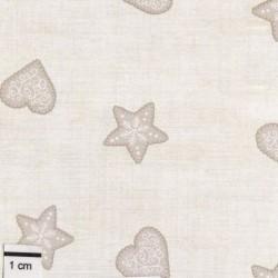 tissu patchwork beige avec des coeurs et des étoiles