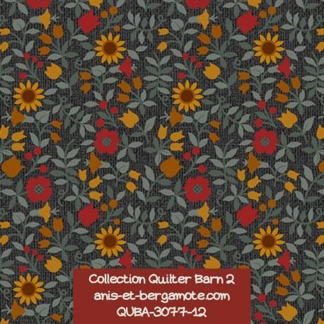 tissu patchwork-collection quilter barn 3077-12 fleuri
