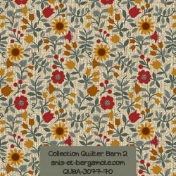 tissu patchwork-collection quilter barn 3077-70 fleuri clair