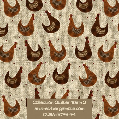 tissu patchwork-collection quilter barn 3078-71 poules