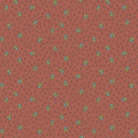 tissu patchwork rouge rouille imprimé de petits fruits