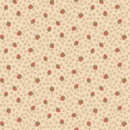 tissu patchwork fond ecru imprimé de petits fruits