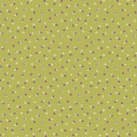 tissu patchwork anni downs fond vert à pois