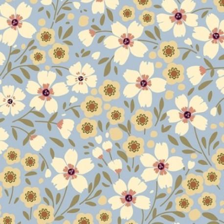 tissu patchwork bleu avec des fleurs vanille et jaune