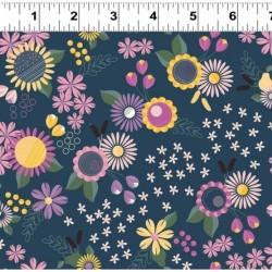 tissu patchwork Rosewood fleuri marine, jaune et fuchsia
