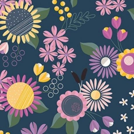 tissu patchwork fleuri marine, jaune et fuchsia