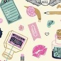 tissu patchwork thème écriture pen pal, spécial maitresse d ecole