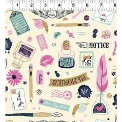 tissu patchwork motifs scolaires et écriture