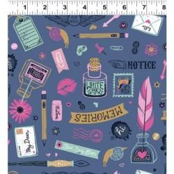 tissu patchwork thème écriture pen pal 1511 foncé